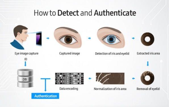 Die Iris wird aus einem Infrarot-Bild extrahiert und in ein Datenwort umgewandelt, das anschließend mit neuen Scans verglichen werden kann. (Quelle: Samsung)