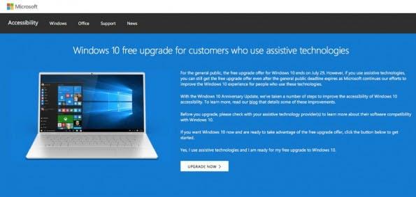 Windows-10-Upgrade: Microsoft öffnet Hintertür für Gratis-Update. (Screenshot: t3n.de/Microsoft)