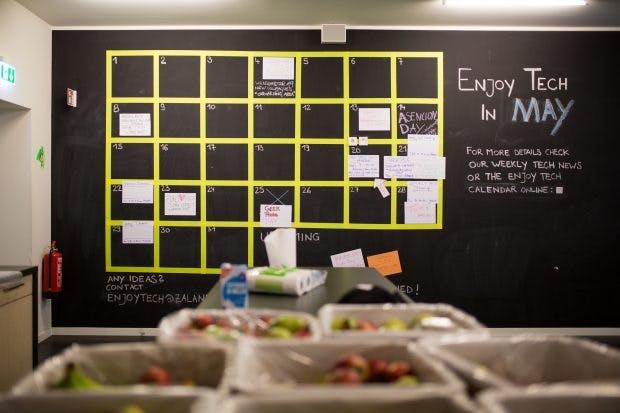 Stundenplan für alle: Auf dem Kalenderplan notieren die Mitarbeiter Team-Events, aber auch Meetings. (Quelle: Zalando/Tony Haupt Photo)