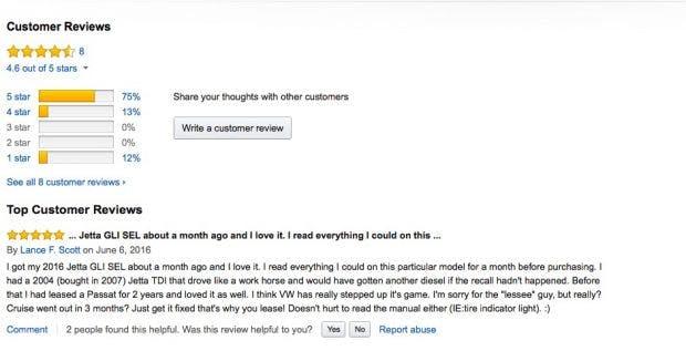 Rezensionen und Diskussionen über Autos bringen Traffic auf Amazons Produkt-Detailseiten. (Screenshot: Amazon)