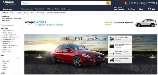 "Amazon startet ""Amazon Vehicles"".(Screenshot: Amazon)"