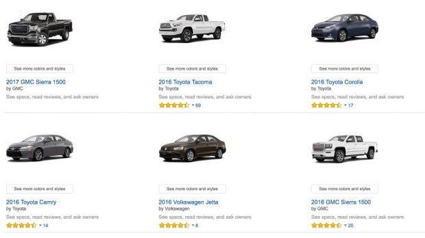 Die Produkt-Liste von Amazon. (Screenshot: Amazon)