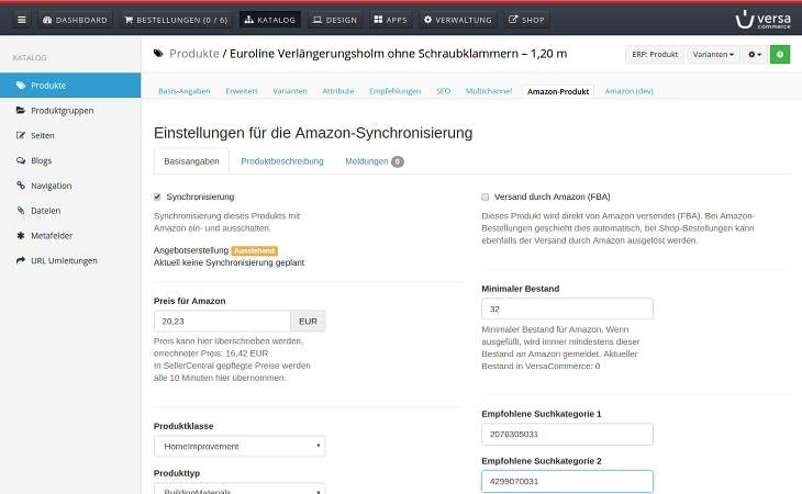 Im Amazon-Commander von VersaCommerce kannst du mit einem Blick alle Einstellungen und deren Status überblicken. (Screenshot: VersaCommerce)