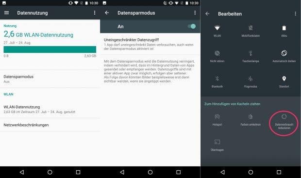 Der Datensparmodus, auch Data Saver, von Android 7.0 lässt sich direkt aus der Benachrichtigungsleiste aktivieren. (Screenshot: t3n)