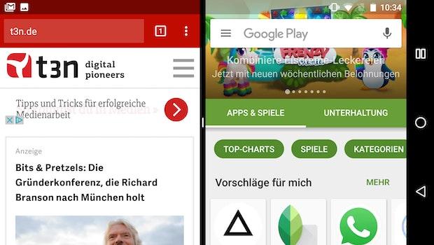 Multi-Window-Modus ist unter Android 7.0 auch auf dem Smartphone nutzbar. (Screenshot: t3n)