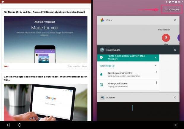 """Etwas versteckt: Der Button """"Alle löschen"""" entfernt alle Apps aus der Multi-Tasking-Übersicht. (Screenshot: t3n)"""