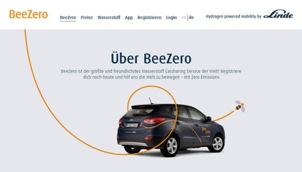 BeeZero: Wasserstoff-Carsharing von Linde. (Screenshot: t3n)