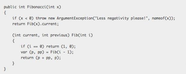 C# 7.0 unterstützt jetzt auch lokale Funktionen. (Screenshot: blogs.msdn.microsoft.com)