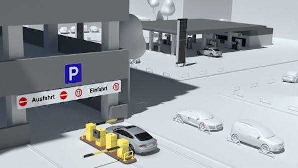 Ein weiterer Bestandteil der Car-to-X-Kommunikation: bargeldloses Bezahlen – beispielsweise in Parkhäusern. (Bild Audi)