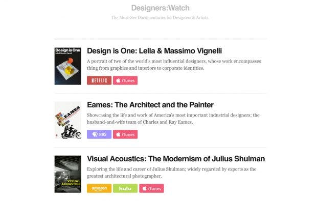 Designers.Watch kuratiert Must-See-Dokus für Designer und Kreative. (Screenshot: designers.watch)