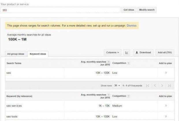 Die neue Keyword-Planer-Ansicht für Nutzer mit kleinem Budget. (Bild: Seroundtable)