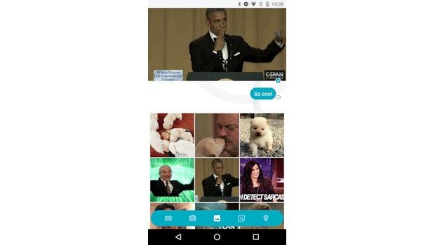 Einfügen von Medien in den Allo-Chat.