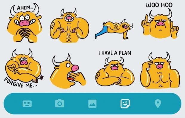 Juli the Bull ist eines der frechsten Sticker-Packs in Allo. (Screenshot: Android Police)