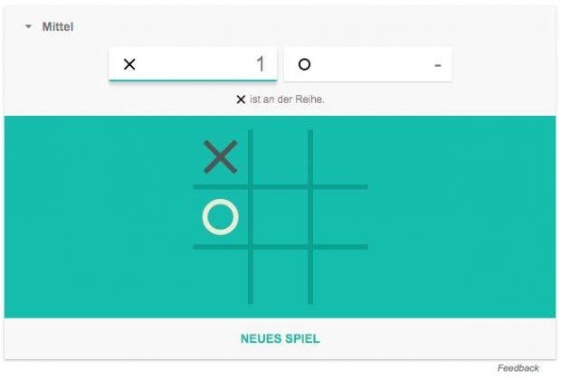 Google-Easteregg: Ab sofort könnt ihr Tic-Tac-Toe und Solitaire direkt in der Suche zocken. (Screenshot: Google)