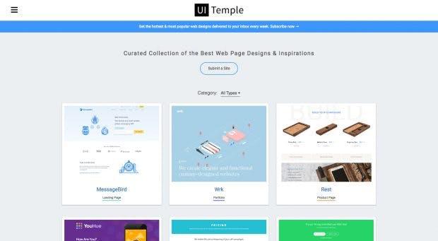 Egal ob Landingpage, Portfolio, Kontakt-Webseite, Preisübersicht oder Produkt-Webseite: Auf UI Temple findet ihr interessante Webdesign-Beispiele. (Screenshot: uitemple.com)