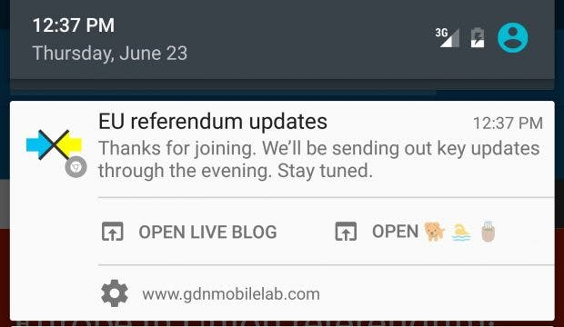 The Guardian experimentiert mit Push Notifications. (Screenshot: The Guardian Mobile Innovation Lab)