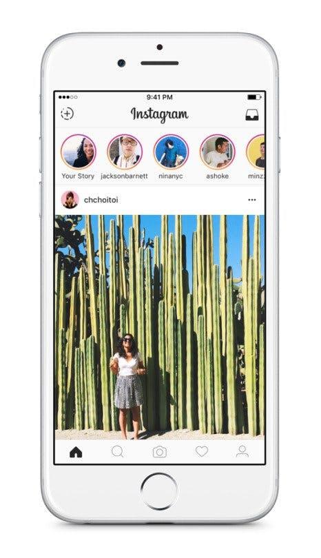 Die neue Stories-Funktion von Instagram findet sich am oberen Rand des Newsfeeds. (Quelle: Instagram)
