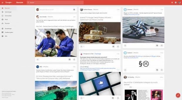 Google+: Konsequentes Kartendesign über alle Geräte. (Screenshot: t3n)