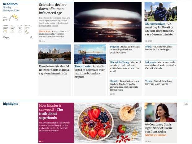 The Guardian sortiert Karten in Themenbereiche. (Screenshot: t3n)