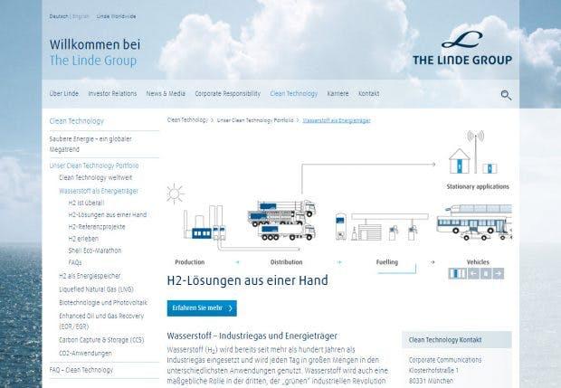 Gashersteller Linde stellt sich gezielt als ökologisches Unternehmen dar. (Screenshot: t3n)