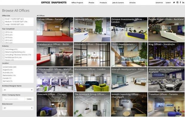 Die Officesnaphots-Community kuratiert die schönsten Büros der Welt. (Screenshot: Officesnapshots.com)