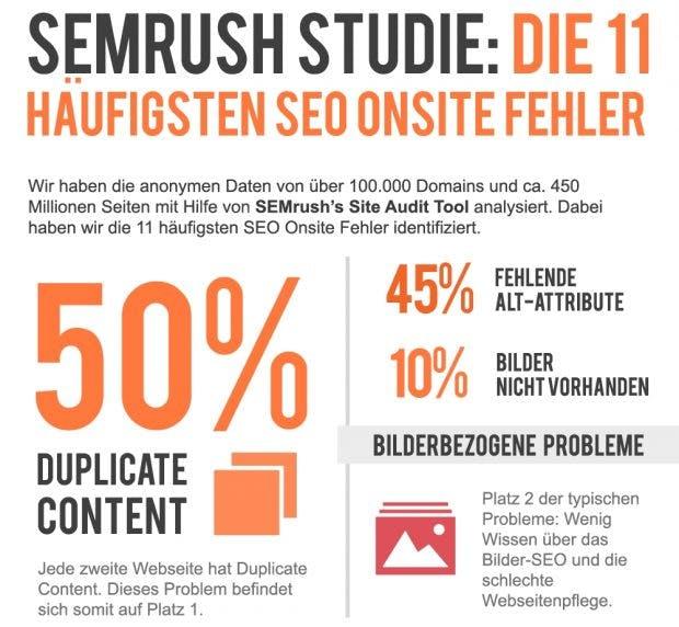 DieOnpage-SEO-Infografik zeigt viele vermeidbare Fehler auf. (Bild: Semrush)