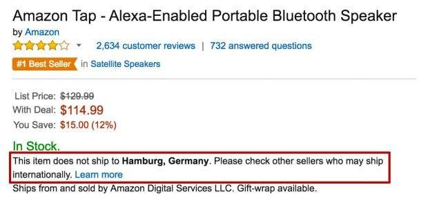 Eine Nachricht die keiner gerne liest: Viele Technik-Produkte werden nicht nach Deutschland geliefert. Paketweiterleitungs-Dienste können helfen. (Screenshot: amazon.com)