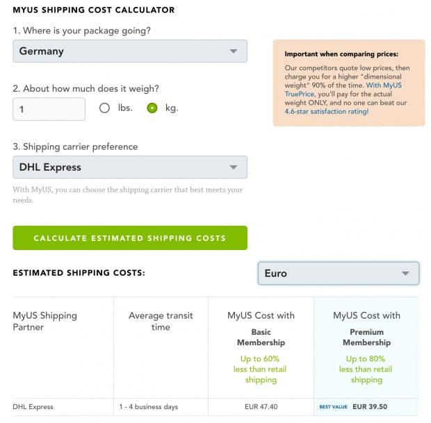 Fast alle Anbieter haben einen Kostenrechner auf ihrer Webseite, mit dem sich die Kosten für ihre Dienstleistung berechnen lassen. (Screenshot: myus.com)