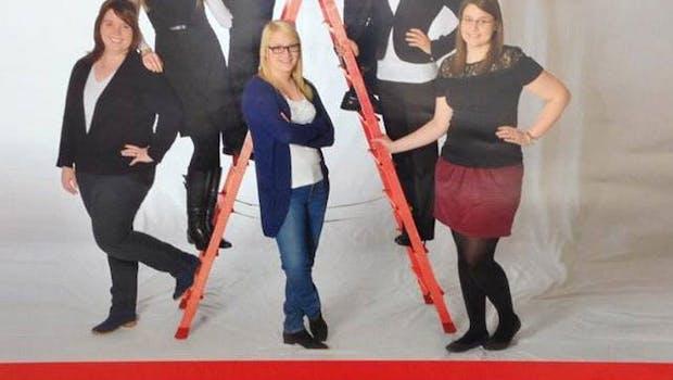 Die Kreissparkasse Birkenfeld wollte mit diesem Plakat um Azubis werben. Ob sich bei diesem Foto allerdings auch Frauen angesprochen fühlen, ist stark zu bezweifeln. (Screenshot: goldenerunkelruebe.de)