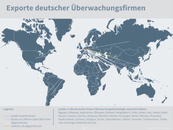 Exporte deutscher Überwachungsfirmen. (Grafik: Netzpolitik.org)