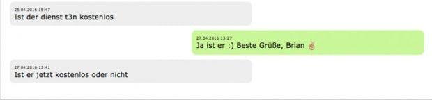 Whatsapp-Fail: (Screenshot: t3n.de)