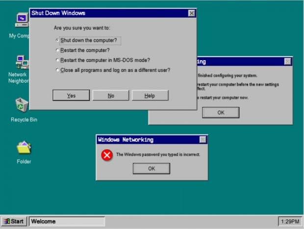 Windows 95: Das UI-Kit bringt der Interface-Design der 90er zurück. (Grafik: Designclue)
