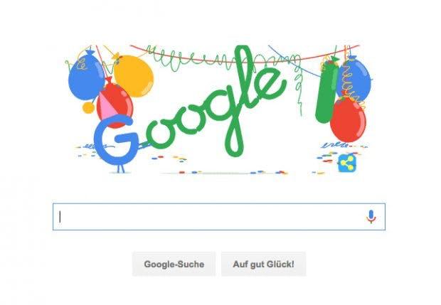 18 Jahre Google: Suchmaschine feiert Firmenjubiläum mit eigenem Doodle. (Screenshot: google.de)
