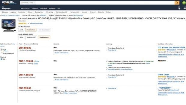 """""""E-Mail-Adresse, bitte"""": Beispiel eines Fake-Listings bei Amazon. (Screenshot: Amazon/t3n)"""