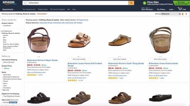 32 Seiten mit Birkenstock-Sandalen und Schuhen demonstrieren dass Birkenstock ungewollt immer noch auf Amazon präsent ist. (Screenshot: Amazon.com)