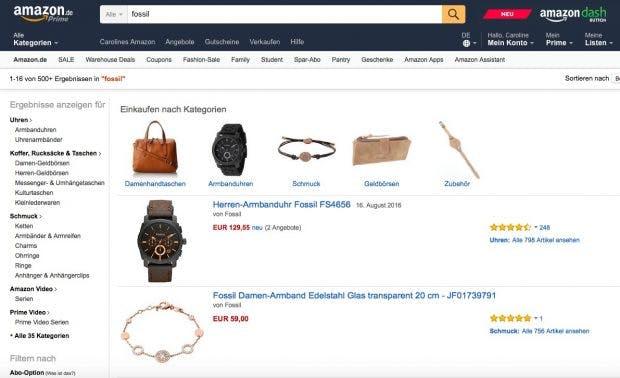 """Das Suchergebnis nach dem Begriff """"Fossil"""" bei Amazon. Keine Markenfremden Produkte, keine kontraproduktiven Werbemaßnahmen. (Screenshot: Amazon.de)"""