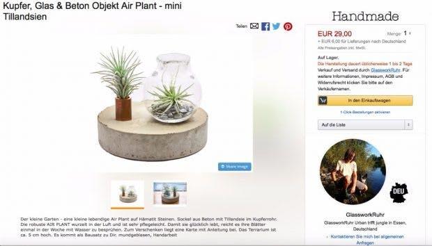 Produktseite des Kunsthandwerkers GlassworkRuhr Screenshot: Amazon)