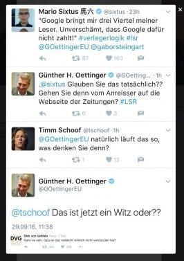 Leistungsschutzrecht: Oettinger äußert sich bei Twitter zur Internetnutzung. (Screenshot: Twitter/t3n)