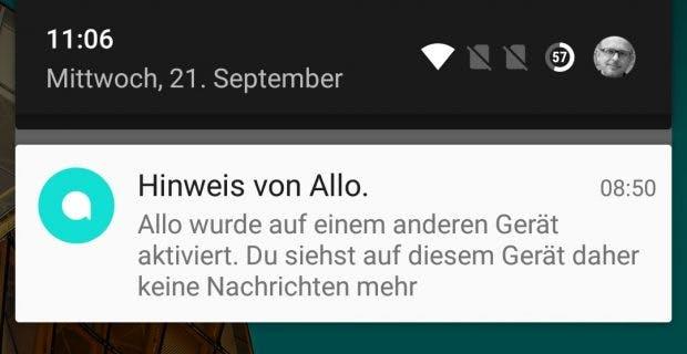 Allo merkt sofort, wenn ihr euch auf einem weiteren Gerät anmeldet. (Screenshot: t3n)