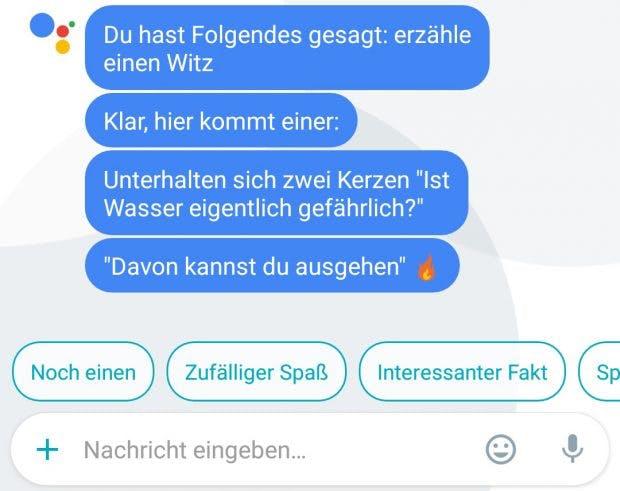 Der Google Assistant kann euch jetzt auf Deutsch Witze erzählen. (Bild: t3n)