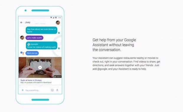 Der Google Assistant kann direkt in Konversationen mit anderen genutzt werden. (Bild: Google)