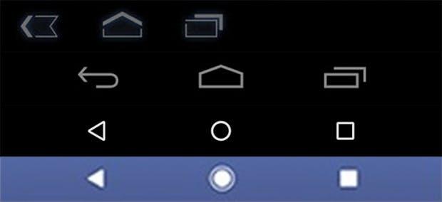 Die Entwicklung der Android-Onscreen-Navi: Von oben nach unten: Android 3.0, 4.0, 5.0, Pixel-Leak. (Bild Android Police)