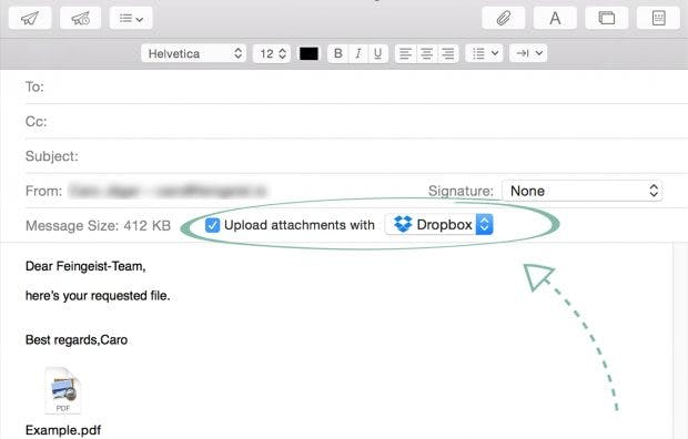 Große Anhänge automatisch in der Cloud bereitstellen. (Screenshot: Mailbutler)