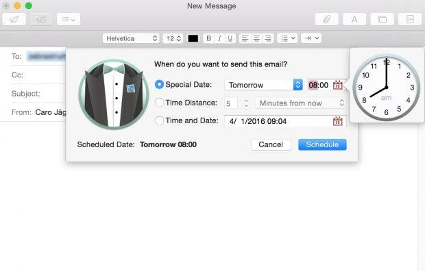 Mails erstellen und an einem gewählten Datum automatisch verschicken. (Screenshot: Mailbutler)