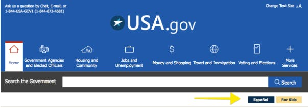 Screenshot: USA.gov