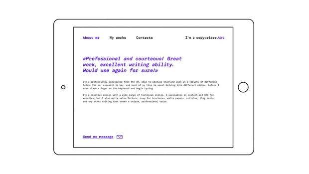 Texter-Konzept: So könnte eine Portfolio-Seite eines Copywriters aussehen. (Grafik: Dmitry Anisimov)
