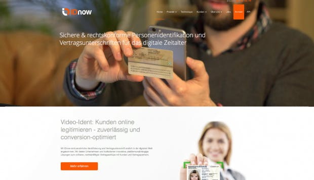 Junge Fintech-Wettbewerber wie IDnow oder WebID machen der Deutschen Post das Geschäft streitig. (Screenshot: t3n)