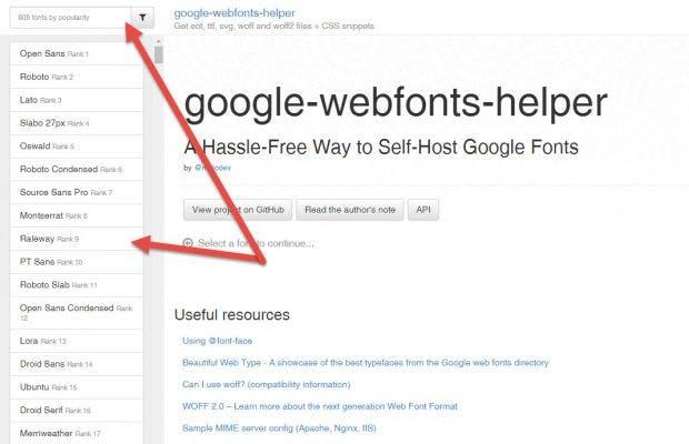 Es beginnt mit der Auswahl des gewünschten Google Fonts. (Screenshot: t3n)
