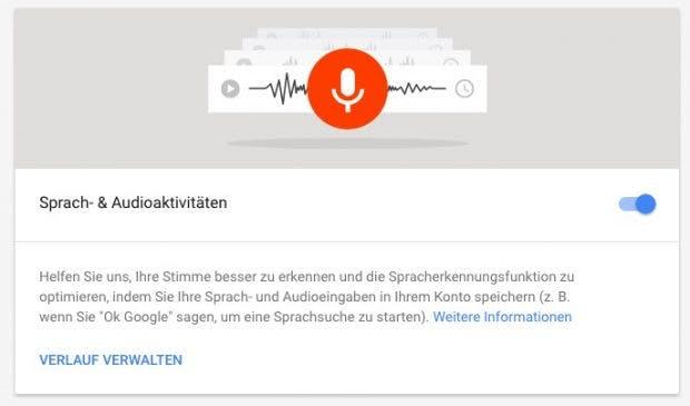 Google erlaubt das Deaktivieren der Aufzeichnung eurer Spracheingaben. (Screenshot: t3n;Google)