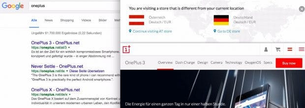 (Screenshots: Google / Oneplus)